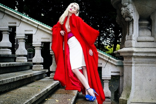Red coat, photoshoot, fahion